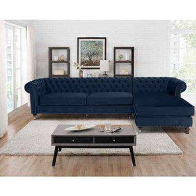 Ronald Chesterfield L Shape Corner Sofa - Navy