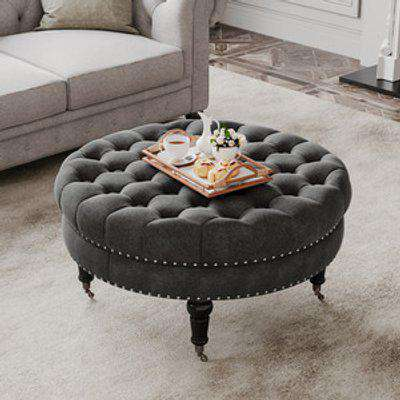Round Buttoned Footstool with 4 Casters - Grey