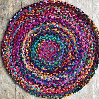Round Circle Chindi Rag Rug 60cm x 60cm
