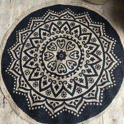 Round Circle Jute Rug With Mandala Print
