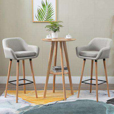 Round Cocktail Bistro Table  - Nature Wood