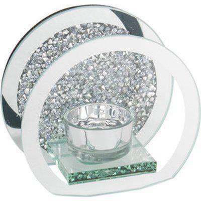 Round Crushed Crystal Tealight Holder