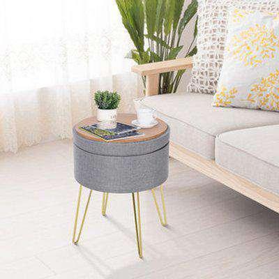 Round Linen Look Storage Ottoman Footstool - Grey