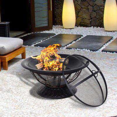Round Metal Outdoor Firepit  - Black with Bronze