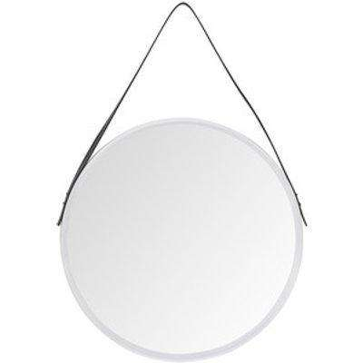 Round Mirror With Faux Leather Strap