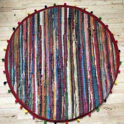 Round Pom Pom Recycled Rag Rug 90cm - Multi