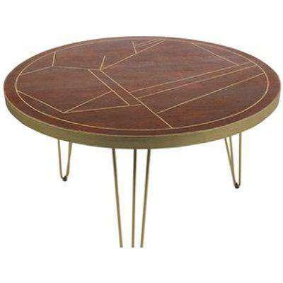 Round Solid Wood Dining Table 4 Seats Dallas Dark Mango - Dark Wood