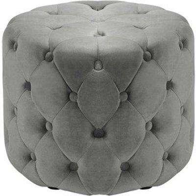 Round Velvet Footrest Footstool - Grey