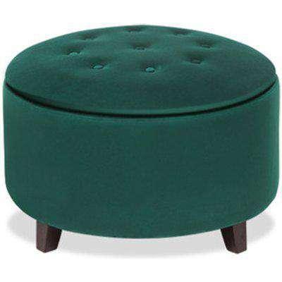 Round Velvet Storage Footstool - Dark Green
