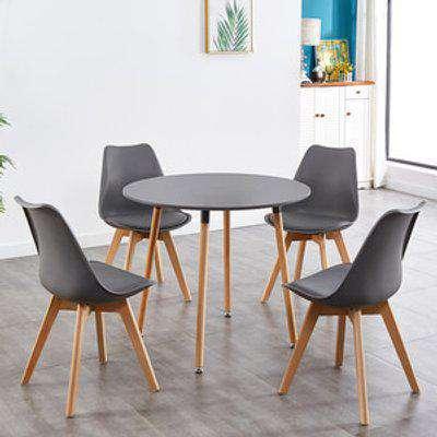 Round Dark Grey Wood Dining Table with 4 Dark Grey Chairs Set - Dark Grey