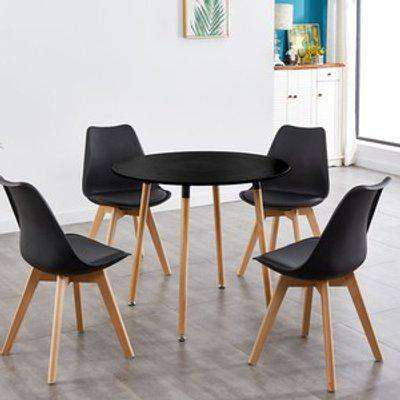 Round Black Wood Dining Table With 4 White Chairs Set - Black