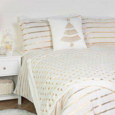 Satin Stripe Fleece Duvet and Pillowcase Set - Gold / Super King size