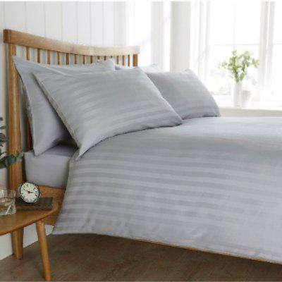 Satin Stripe 200 Thread Count Duvet Cover and Pillowcase Set - Silver / Super King