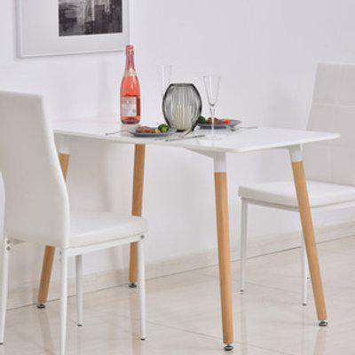 Scandinavian Style Dining Table with Wood Legs - White and Natural