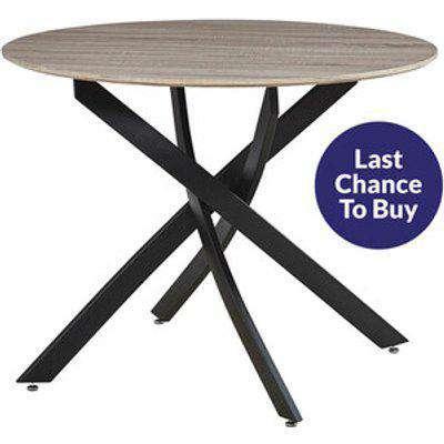 Seaton Round Dining Table - Black/Dark Wood