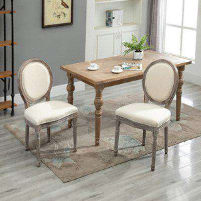 Set of 2 Elegant French Style Dining Chairs with Wooden Frame - Ivory