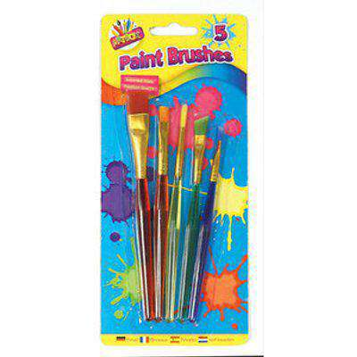 Set of Five Assorted Kids Paint Brushes