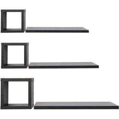Set of 6 Modern Wall Floating Shelf Unit - Black