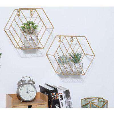 Set of 2 Modern Wall Mounted Hexagonal Floating Shelf - Gold