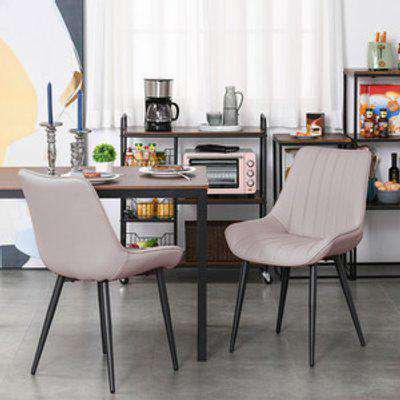 Set Of 2 PU Leather Mid Century Dining Chairs with Steel Legs - Beige