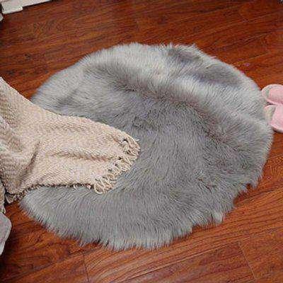 Shag Faux Sheepskin Fluffy Round Rug - Grey / 430G
