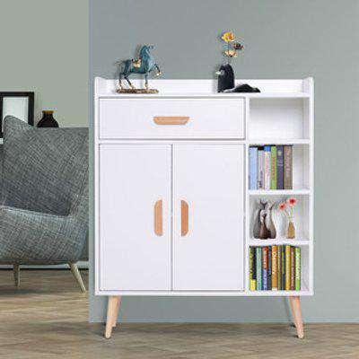 Side Cabinet Hallway Storage Unit - White