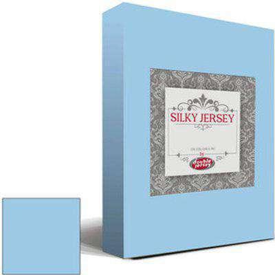 Silky Jersey Fitted Bedsheet Sky Blue  - Sky Blue / Queen