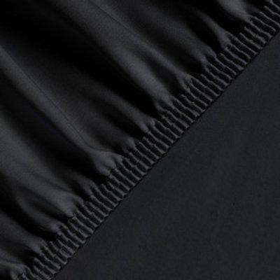 Silky Satin Fitted Bed Sheet Small Double - Black