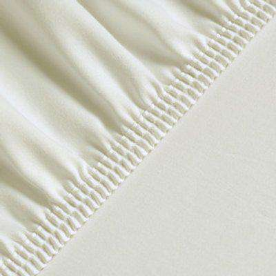 Silky Satin Fitted Bed Sheet Small Sizes - Ecru / Single