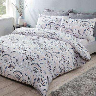 Skandi Bloom Duvet Cover and Pillowcase Set - White / Double