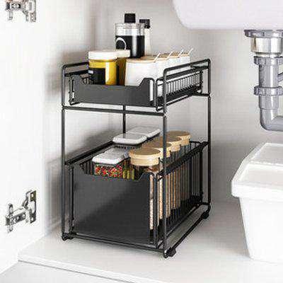 Slide Out Basket Under Sink Storage Rack Stand - Black / 37.4*26.5*44cm3