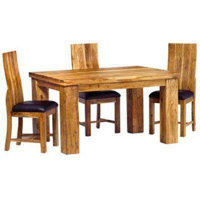 Small Acacia Wood Dining Table Set with 4 Chairs - Light Wood Tone