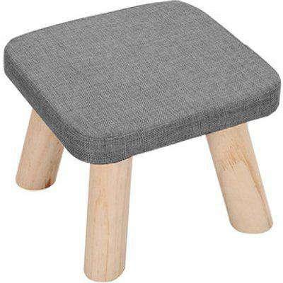 Small Linen Footstool  - Grey