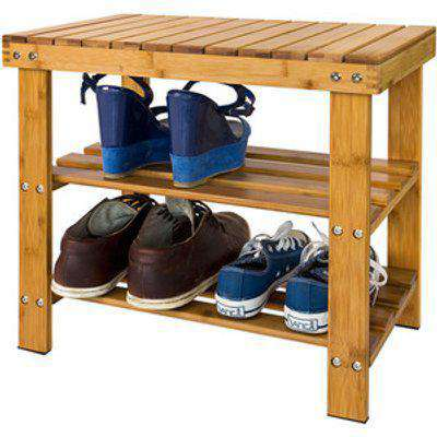 SoBuy Bamboo Shoe Bench - Brown