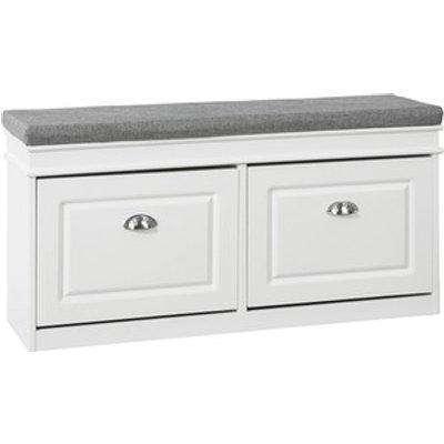 SoBuy Shoe Bench with Flip-drawer - White
