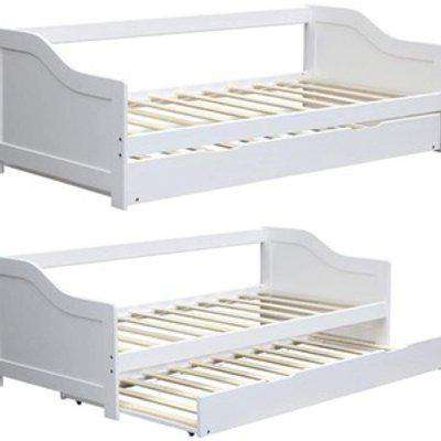 Solid Wood Day Guest Bed With Underbed Trundle  - No Mattresses