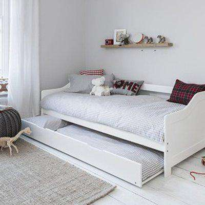Solid Wood Day Guest Bed With Underbed Trundle  - Mattresses included