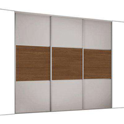Spacepro Dove Grey & Mild Oak Classic Sliding Wardrobe Kit - Dove Grey/Walnut / 3 / 1760mm