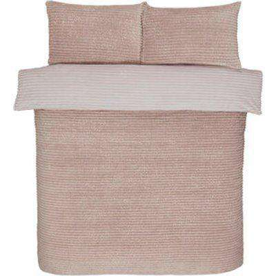Sparkle Fleece Duvet Cover and Pillowcase Set - Blush / Super King