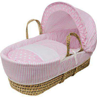 Pink Spots and Stripes Moses Basket