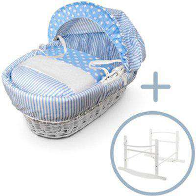 Blue Spots And Stripes White Wicker Moses Basket With White Rocking Stand