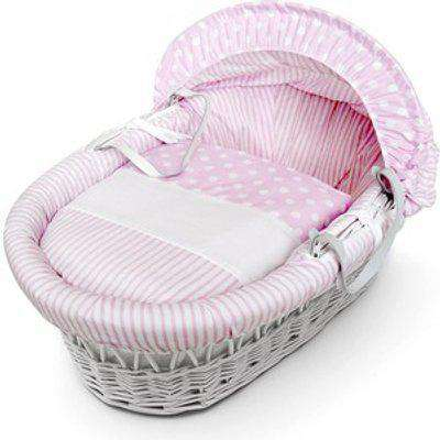Pink Spots and Stripes White Wicker Moses Basket - Pink