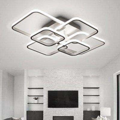 Square Chandelier Ceiling Light (White Frame) - White / Cool White