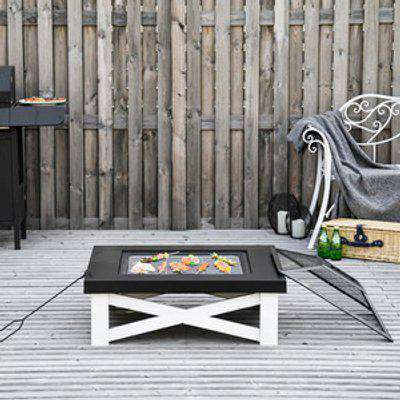 3 in 1 Square Fire Pit Table - White, Black