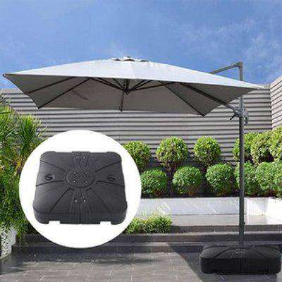 Square Plastic Outdoor Umbrella Stand Parasol Base - Black
