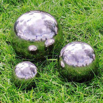 Stainless Steel Mirror Sphere Garden Ornaments Set