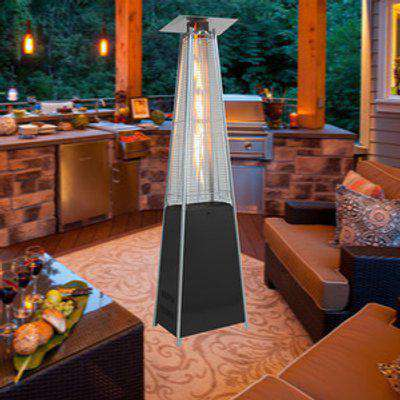 Stainless Steel Quadrangular Glass Tube Patio Heater - Black