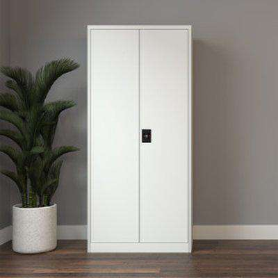 Steel Tall Office Lockable Filing Cabinet - Cream White