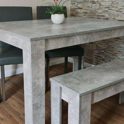 Stone Grey Dining Table With 2 Grey Wood Chairs and Bench - Stone Grey