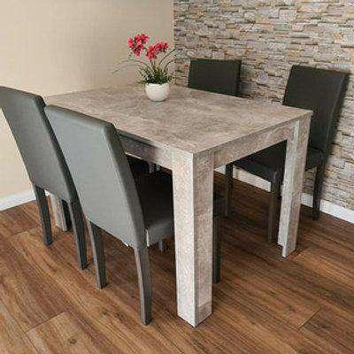 Kosy Koala Stone Grey Wood Dining Table and 4 Chairs Set - Grey